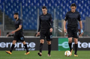 SS Lazio's players react during the UEFA Europa League soccer match between SS Lazio and AC Sparta Prague at the Olimpico stadium in Rome, Italy, 17 March 2016.      ANSA/ETTORE FERRARI