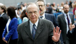 Italian Finance Minister Pier Carlo Padoan, center, arrives for a meeting of eurozone finance ministers at the EU LEX building in Brussels on Tuesday, July 7, 2015.     (ANSA/AP Photo/Francois Walschaerts)