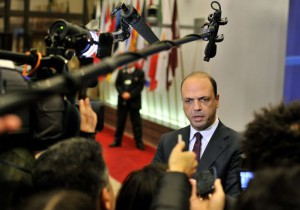 Italian Interior minister Angelino Alfano talks to the press prior to a Justice and Home Affairs Council.  AFP PHOTO / GEORGES GOBET