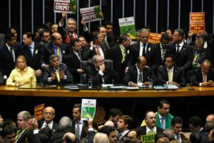 General view of the Chamber of Deputies as they begin the discussions ahead of the impeachment ballot in Brasilia, Brazil on 17 April 2016.EPA/Iano Andrade