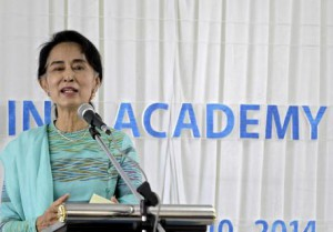 Suu Kyi attends the Hospitality and Catering Traning Academy