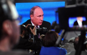 Russian President Vladimir Putin attends his annual news conference