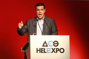 SYRIZA party leader Alexis Tsipras speaks during a press conference at the 79th Thessaloniki International Fair