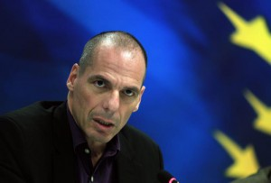 Greek Finance Minister Yanis Varoufakis at press conference at the Finance Ministry in Athens