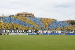 Frosinone's supporters prior the Italian Serie B soccer match Frosinone Calcio vs FC Crotone