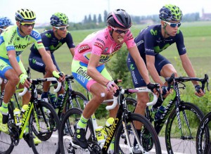 98th Giro d'Italia: Spanish rider Alberto Contador (C) of the Tinkoff-Saxo