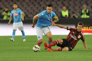 Napoli's midfielder Marek Hamsik in action during the italian serie A soccer match between SSC Napoli and AC Milan at San Paolo