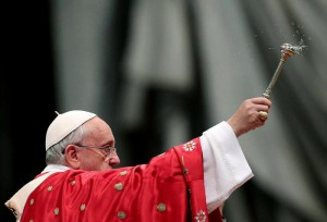 Pope Francis celebrates the Pentecostal mass at Saint Peter