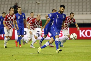 Italy's Antonio Candreva shoots to score from penalty shot