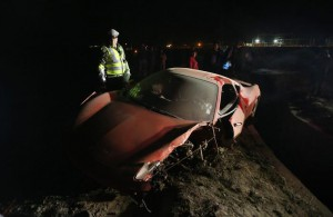 General view of the crashed vehicle of Chilean soccer player Arturo Vidal in Santiago