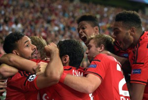 Leverkusen's players celebrate after Admir Mehmedi (unseen) scored the 2-0 during the UEFA Champions League play off second leg match between Bayer Leverkusen and Lazio Rome in Leverkusen, Germany, 26 August 2015.  EPA/Federico Gambarini