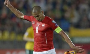 Switzerland's Goekhan Inler in action during the UEFA EURO 2016 group E qualifying soccer match between Lithuania and Switzerland at the LFF Stadium in Vilnius, Lithuania, on Sunday, June 14, 2015.  EPA/GEORGIOS KEFALAS