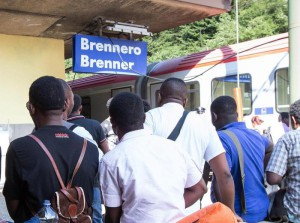 A photo made available 10 August 2015 of asylum seekers crowding the Brenner railway station on the border between Tyrol, Austria and South Tyrol, Italy, 09 August 2015. EPA/EXPA/JOHANN GRODER