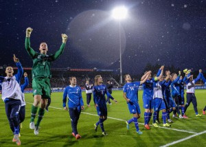 Iceland's players celebrate after the UEFA EURO 2016 group A qualifying soccer match between Iceland and Kazakhstan at the Laugardalsvollur stadium in  Reykjavik, Iceland, 06 September 2015.  EPA/STRINGER ICELAND OUT