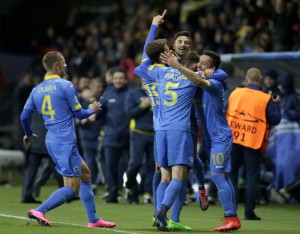 Players of FC BATE Borisov celebrate after scoring during the UEFA Champions League qualifying soccer match between FC BATE Borisov and AS Roma in Borisov, Belarus, 29 September 2015.  EPA/TATYANA ZENKOVICH