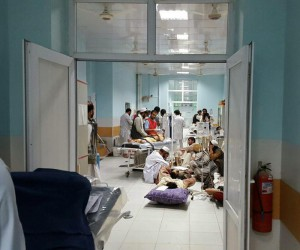 A handout file picture made available on 01 October 2015 shows members of the humanitarian aid organisation Medecins Sans Frontieres (MSF) (Doctors without borders) treating injured people in a hospital in Kunduz, Afghanistan, 30 September 2015. EPA/MEDICINS SANS FRONTIERES