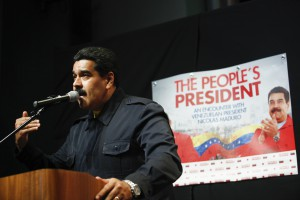 Venezuela's President Nicolas Maduro speaks during a meeting in New York, in this handout photo provided by Miraflores Palace on September 23, 2014.