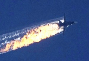 A still image made available on 24 November 2015 from video footage shown by the HaberTurk TV Channel shows a burning trail as a plane comes down after being shot down near the Turkish-Syrian border, over north Syria, 24 November 2015. A Russian fighter jet was shot down 24 November over the Turkish-Syrian border, the Defence Ministry in Moscow said, according to Interfax news agency. The Sukhoi Su-24 was reportedly downed by Turkish forces, Turkish state news agency Anadolu reported, citing sources in the presidency. The report said that the jet violated Turkish airspace and ignored warnings. It crashed in the north-western Syrian town of Bayirbucak, Turkish security sources were quoted as saying.     ANSA/HABERTURK TV CHANNEL