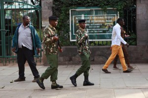 Kenya's Administration Police (AP) officers, (C) patrol in the streets of Nairobi, after security was beefed-up a day before the arrival of US President Barrack Obama in Nairobi, Kenya, 23 July 2015. US President Barack Obama is expected to visit the country in late July, his first visit to his father's homeland since becoming president.  EPA/DANIEL IRUNGU