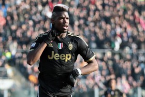 Juventus'  Paul Pogba jubilates  after scoring the goal during the Italian Serie A soccer match Carpi FC vs Juventus FC at Alberto Braglia  Stadium in Modena, Italy, 20 December 2015.  ANSA/SERENA CAMPANINI