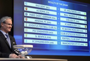 UEFA Competitions Director Giorgio Marchetti next to the electronic panel with the match fixtures following the draw of the 2015/16 UEFA Champions League Round of 16 at the UEFA Headquarters in Nyon, Switzerland, 14 December 2015.  EPA/LAURENT GILLIERON