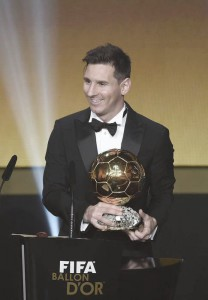 Argentina's Lionel Messi poses with his trophy after winning the FIFA Men's soccer player of the year 2015 prize during the FIFA Ballon d'Or awarding ceremony at the Kongresshaus in Zurich, Switzerland, 11 January 2016.  EPA/VALERIANO DI DOMENICO