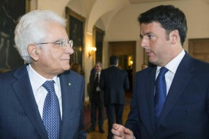 Italian President Sergio Mattarella meets Italian Premier Matteo Renzi ahead of an EU summit tomorrow, at Quirinale Palace, Rome, 14 October 2015. ANSA / US QUIRINALE - PRESS OFFICE
