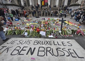 "A banner for the victims of the bombings reads "" I am Brussels"" at the Place de la Bourse in the center of Brussels, Wednesday, March 23, 2016. (ANSA/AP Photo/Martin Meissner)"