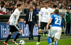 Antonio Conte, head coach of Italy (C) watching the international soccer match between Germany and Italy, at the Allianz Arena in Munich, Germany, 29 March 2016.  EPA/SVEN HOPPE