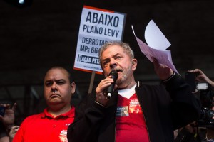 SAO PAULO, BRAZIL - MAY 1:  Union members celebrate May Day at the ''Vale do Anhangabau''on May 1, 2015 in Sao Paulo, Brazil. Labor Day celebrations were attended by former President Luis Inacio Lula da Silva and concerts of famous musicians. (Photo by Victor Moriyama/Getty Images)