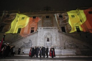 Capitoline Hill lit up in the colours of the Belgian flag on Tuesday evening as a tribute to the victims of terror attacks in Brussels which left at least 34 people dead, Rome, 22 March 2016. ANBSA/ GIUSEPPE LAMI