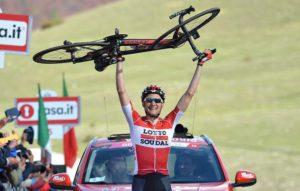 Tim Wellens of team Lotto Soudal wins the sixth stage of the Giro d'Italia 2016, Ponte to Roccaraso, Italy, 12 May 2016 ANSA/LUCA ZENNARO
