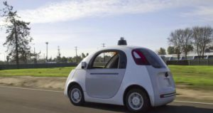 A handout video frame grab made available by Google on 26 June 2015 shows the Google self-driving car on the streets of Mountain View, California, USA. According to Google, the top speed of the test vehicle is 25 miles per hour (40 KmH) and they are equipped with steering wheel, accelerator and brake pedal.  EPA/GOOGLE