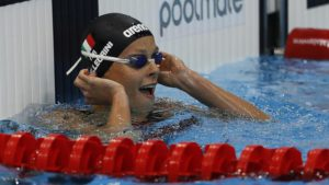 Italy's Federica Pellegrini reacts after winning the Women's 200m Freestyle final at the European Aquatics Championships in London, Saturday, May 21, 2016. (ANSA/AP Photo/Frank Augstein)