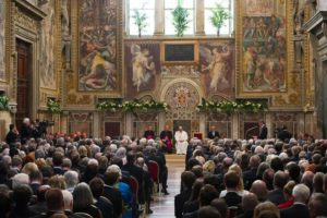 The handout picture released by the Vatican Newspaper L'Osservatore Romano shows a general view of the ceremony for the award of the Charlemagne Prize to Pope Francis (C) at the Vatican, 06 May 2016. Pope Francis on Friday received the Charlemagne Prize, awarded annually since 1950 by the German city of Aachen to people who have contributed to the ideals upon which Europe has been founded, with top EU officials in attendance.  EPA/L'OSSERVATORE ROMANO