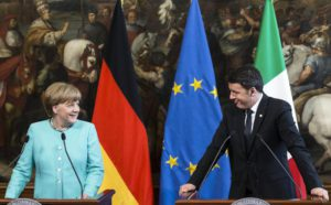 Italian Premier Matteo Renzi with German Chancellor Angela Merkel during a press conference after a bilateral meeting, in Rome, Thursday, May 5, 2016.  ANSA/ANGELO CARCONI