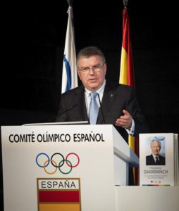 IOC president, German Thomas Bach, speaks during the presentation of the book 'Presidente Samaranch. Los 21 años de la presidencia que cambiaron el deporte' (lit. President Samaranch. 21 years of Presidency that changed sports) at the Spanish Olympic Committee in Madrid, Spain, 13 May 2016.  EPA/Luca Piergiovanni