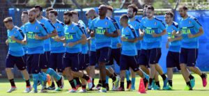 Italy's players  in action during the Italian national soccer team's training session at Bernard-Gasset sport center in Montpellier, France , 9 June 2016. Ansa /Daniel Dal Zennaro