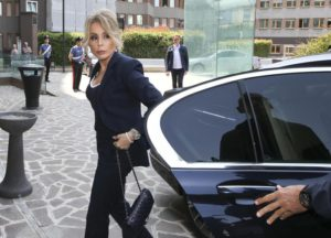 Marina Berlusconi arrives at the San Raffaele hospital in Milan, Italy, Wednesday, June 8, 2016, where her father, ex-Premier Silvio Berlusconi has been hospitalized since Tuesday for scheduled tests after doctors discovered a small irregular heartbeat during an earlier appointment. (ANSA/AP Photo/Luca Bruno)