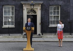 British Prime Minister David Cameron, next to his wife Samantha (R), announces his resignation after losing the vote in the EU Referendum outside No. 10 Downing Street in London, Britain, 24 June 2016. EPA/FACUNDO ARRIZABALAGA