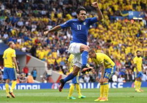 Italy's Eder celebrates after scoring during the UEFA EURO 2016 group E preliminary round match between Italy and Sweden at the Stade Municipal de Toulouse in Toulouse, France, 17 June 2016. ANSA/ DANIEL DAL ZENNARO