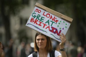 Demonstrators opposing Britain's exit from the European Union in Parliament Square following yesterday's EU referendum result hold a protest in London, Saturday, June 25, 2016. (ANSA/AP Photo/Tim Ireland) [
