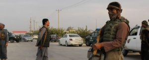 KUNDUZ, Sept. 28, 2015 (Xinhua) -- Afghan security personnel stand guard out of the Kunduz city, Afghanistan, Sept. 28, 2015. (Xinhua/Najim Rahim)