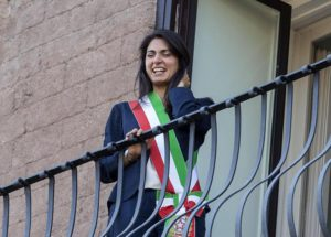 New Rome's Mayor Virginia Raggi reacts, while she appearing on a balcony, during the settlement ceremony at Campidoglio Palace (the town hall) in Rome, Italy, 23 June 2016. ANSA/MASSIMO PERCOSSI