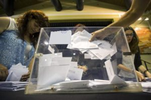 Members of a polling station start the counting of votes in Barcelona, Spain, 26 June 2016. EPA/QUIQUE GARCIA