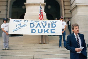 Former Ku Klux Klan leader David Duke formally announces on the steps of the Capitol in Atlanta  that he is a candidate for the Democratic nomination for president of the United States, June 9, 1987. (AP Photo/Linda Schaefer) ORG XMIT: APHS306773