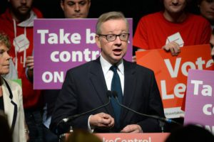 Justice Secretary Michael Gove attends a Vote Leave rally in London, Britain, 19 June 2016. Britons will vote to either stay or leave the European Union on 23 June.  EPA/STR UK/IRELAND OUT