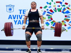 Tatiana Kashirina of Russia competes in the women's 75 kg category final at the Weightlifting European Championships in Tel Aviv, Israel, 12 April 2014.  EPA/JIM HOLLANDER
