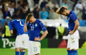 Italy players Mattia De Sciglio (L), Graziano Pelle (R) and Emanuele Giaccherini react after losing the shoot-out during the UEFA EURO 2016 quarter final match between Germany and Italy at Stade de Bordeaux in Bordeaux, France, 02 July 2016. EPA/CAROLINE BLUMBERG
