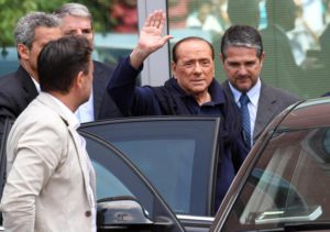 Italian former Premier and leader of centre-right Forza Italia party Silvio Berlusconi is discharged from San Raffaele Hospital after his June 14 heart surgery, Milan, Italy, 05 July 2016. Berlusconi had the operation to replace a faulty aortic valve that had threatened his life. ANSA/ DANIEL DAL ZENNARO